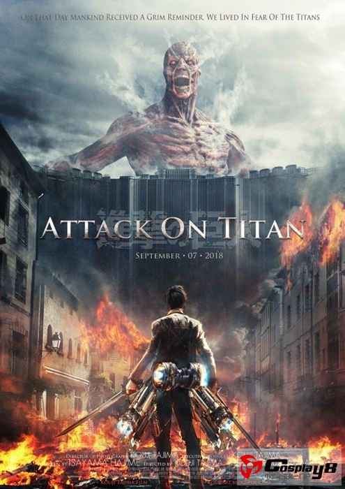海报中写到《进击的巨人》真人电影预定2018年12月7日上映,当然这只是