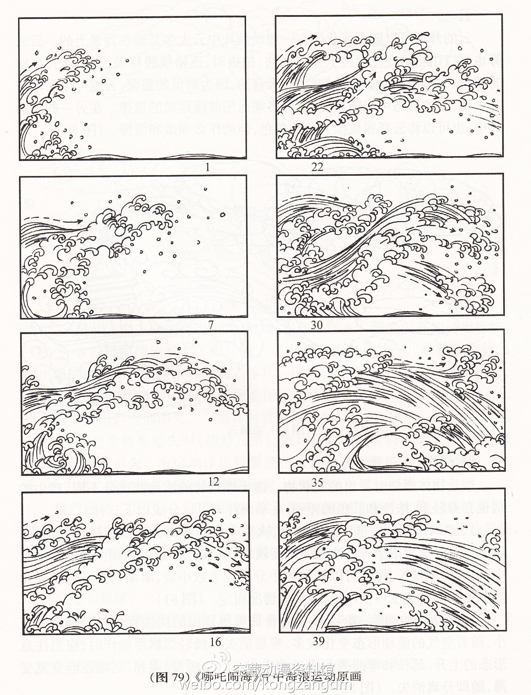 《哪吒闹海》中的海浪运动原画